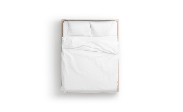 Blank white bed mock up, top view isolated, 3d rendering. Empty blanket and pillows mockup in bedstead. Doss with mattress and bedsheet in place for sleep template. Bedclothes with pilows and duvet.