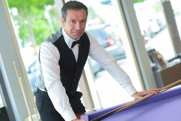 Portrait of snooker player