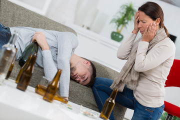Distraught mother finding son passed out from alcohol