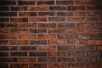 Old red brick wall vintage grunge background