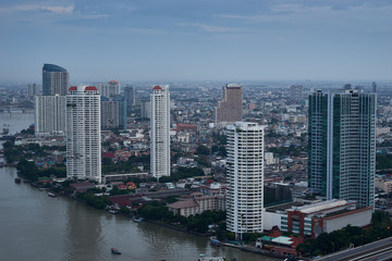 cityscapes building near the river from aerial view daytime