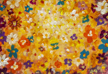 Beautiful flowers background for wedding scene painting