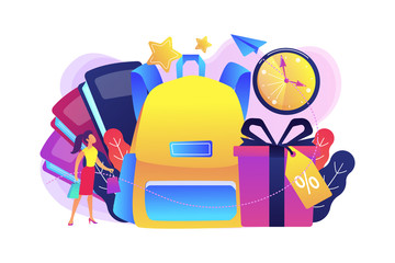 School backpack, books, shopper with shopping bag and present box with percent tag. Back to school sale and deals, school shopping clearance concept, violet palette. Vector isolated illustration.
