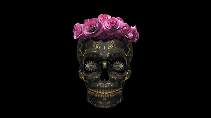 Metallic Mexican skull with roses on black background. Day of the dead Mexican holiday.