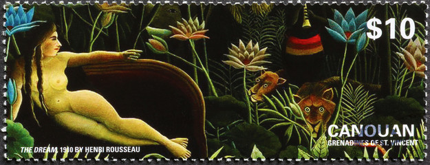 Painting the dream by Henry Rousseau on stamp