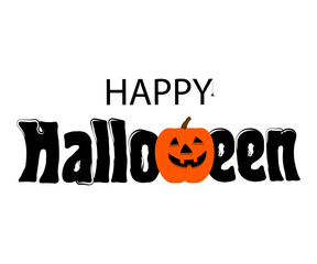 Vector Happy Halloween text banner. Isolated on white background.