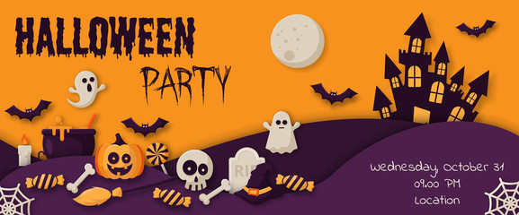 Happy Halloween Party Banner with  pumpkins, ghosts, candy, witch broom, bats, cobwebs, skulls, bones, headstones, witch hats. Flat icon. Vector Illustration Fotoväggar