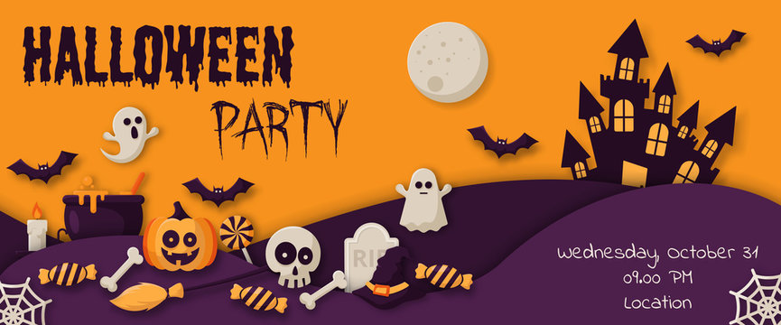 Happy Halloween Party Banner with  pumpkins, ghosts, candy, witch broom, bats, cobwebs, skulls, bones, headstones, witch hats. Flat icon. Vector Illustration