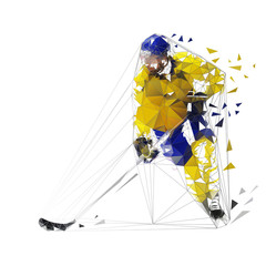 Hockey player, polygonal vector illustration. Low poly ice hockey skater with puck