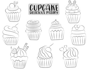 Vanilla and chocolate cupcakes cute hand drawn set. Black and white outline coloring page kids game. Monochrome link line art. Vector illustration.
