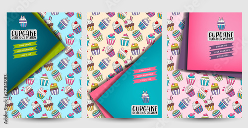 Cupcake Bakery Flyer Or Posters Set Background For Advertisement Menu Brochure Template