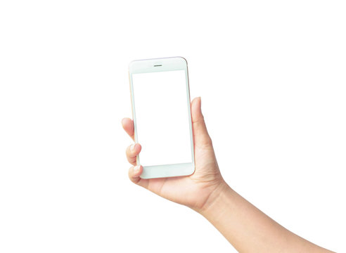 Woman hand holding the white smartphone