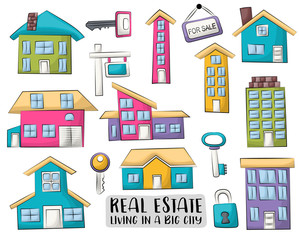 Real estate business set of icons and objects. Hand drawn cartoon style design concept. Vector illustration.