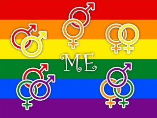Concept of choice or gender symbol confusion with rainbow flag, couple selection ME
