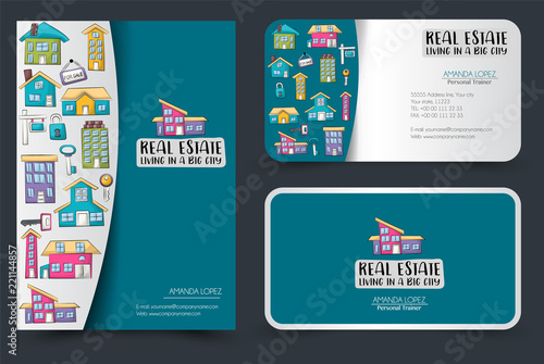 Real estate business flyer and business cards set background for real estate business flyer and business cards set background for advertisement invitation brochure reheart Image collections