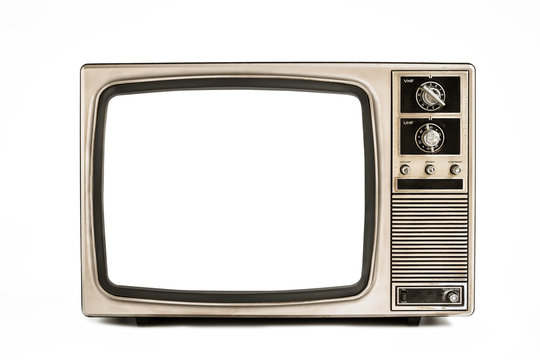 Retro old television isolated on white background