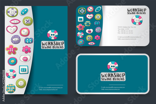 Sewing Buttons Flyer And Business Cards Set Background For