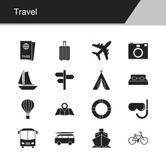 Travel icons. Design for presentation, graphic design, mobile application, web design, infographics.