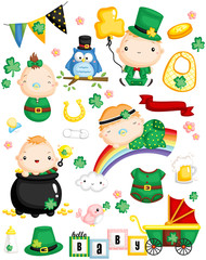 Leprechaun Baby Vector Set