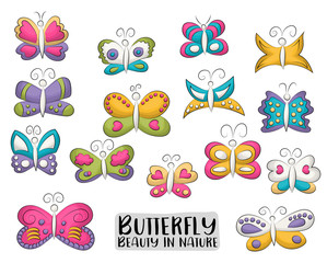 Tropical butterflies set of icons and objects. Hand drawn cartoon style summer or spring design concept. Vector illustration.