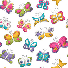 Tropical butterflies seamless pattern. Colorful girly and childish decor repeat background. Hand drawn doodle cartoon style summer or spring design concept. Vector illustration.