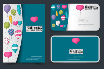 Colorful helium balloons flyer and business cards set. Background for advertisement, invitation, brochure template. Hand drawn doodle cartoon style birthday party event decoration concept.