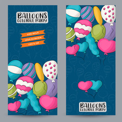 Colorful helium balloons vertical banner set. Cute poster for invitation, advertisement, web page. Hand drawn doodle cartoon style birthday party event decoration design concept. Vector illustration.