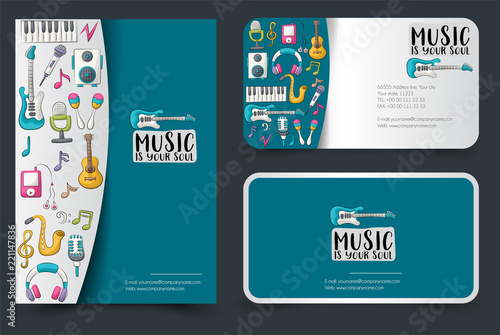 music art flyer and business cards set background for advertisement