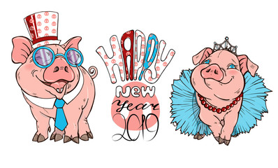 pigs dressed in costumes, vector illustration