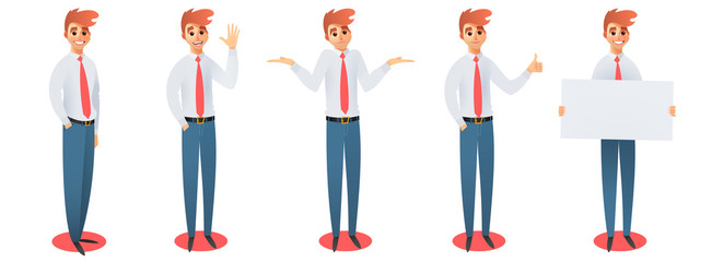 Set of businessman in different simple action. Vector illustration