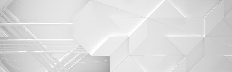 Wide White Futuristic Background (3d illustration) Fotoväggar