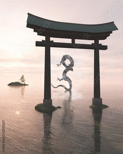 """Oriental Dragon in the Sea Mist Behind a Shrine Gate - fantasy illustration"" Stock photo and royalty-free images on Fotolia.com - Pic 221152837"