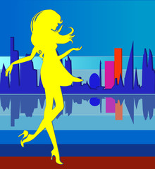 Girl silhouette on city background bright vector illustration fashion