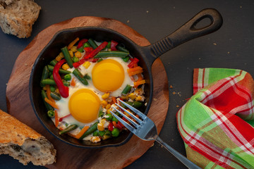 Fried eggs in a cast iron