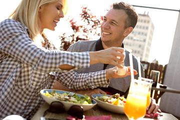 romantic couple enjoying at restaurant