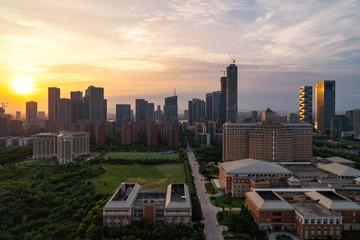 Modern new city sunset in Nanjing