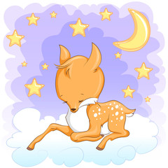 Cute baby deer. Hand drawn vector cartoon  illustration.
