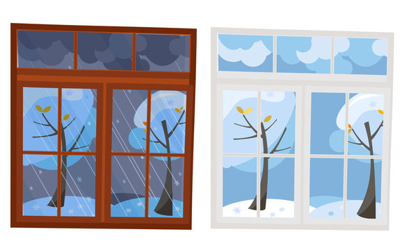 Set of 2 windows in flat style. A wooden brown window overlooking the winter evening, a white plastic window with a view of the winter day. Outside the window is a natural landscape 2 trees in snow