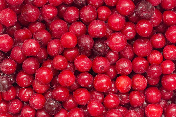 Frozen red cherry fruit background. Healthy food concept