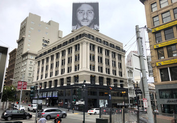 Former San Francisco quarterback Kaepernick appears as a face of Nike Inc advertisement pictured on top of a building in San Francisco