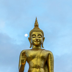 Buddha image statue at Hatyai public park, Songkhal with moon