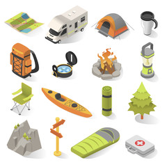 Camping and travel isometric elements vector illustration
