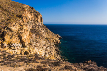 Cliffs in La Azohia Murcia in Mediterranean sea, Spain