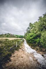 Fence along a hiking trail on dry plains