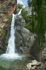 Vertical perspective of one of the several waterfalls in Ourika Valley,  close to Setti Fatma village in Southern Atlas Mountains, an excursion popular among the tourists visiting Marrakech, Morocco