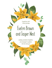 Wedding floral invitation, invite card. Vector watercolor style forest greenery, herbs, eucalyptus,yellow delicate lilly, waxflower natural, botanical green decorative round frame, border, circle.