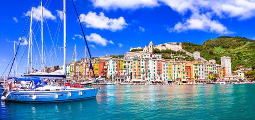 Beautiful coastal town Portovenere in Cinque terre national park. Liguria, Italy Wall mural