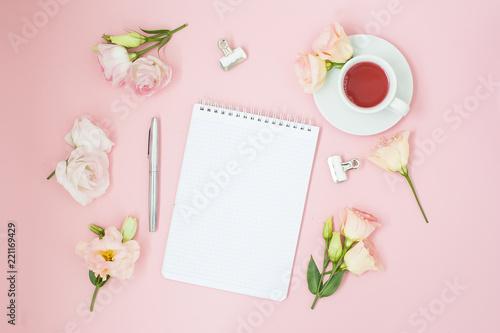 Feminine home office workspace notebook with copyspace flat lay feminine home office workspace notebook with copyspace flat lay magazines social media mightylinksfo
