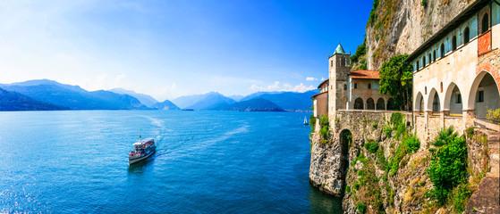 Picturesque monastery Eremo di santa Caterina in beautiful  lake lago Maggiore.  Italy Fotomurales
