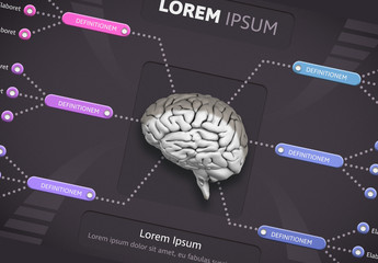 Infographic Layout with Brain Illustration